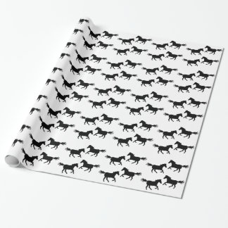 Black and White Wild Horses Pattern Wrapping Paper