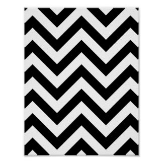 Black and white  Zigzag Chevron Pattern Poster