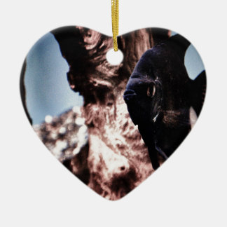 Black Angelfish Ceramic Heart Decoration