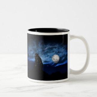 Black bear by moonlight Two-Tone mug