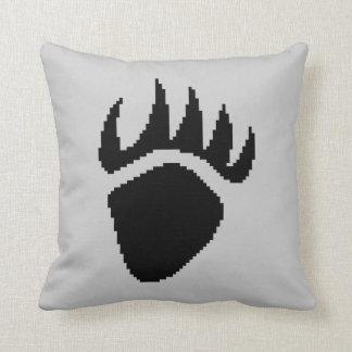 Black Bear Claw Pixel Grey Cushions