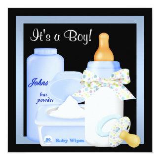 Black Blue Bottle Pacifier Baby Boy Shower 13 Cm X 13 Cm Square Invitation Card