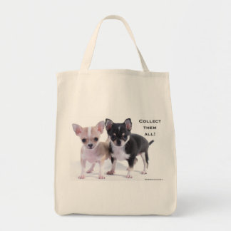 Black & Brown Chihuahua Grocery Tote Bag
