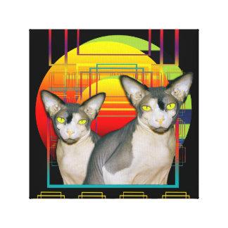 Black Canvas | Twin Sphynx Cats Crazy Cat Design Canvas Print