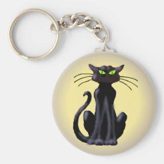 BLACK CAT by SHARON SHARPE Basic Round Button Key Ring