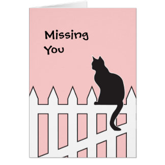 Black Cat Missing You Please Come Home Soon Greeting Card