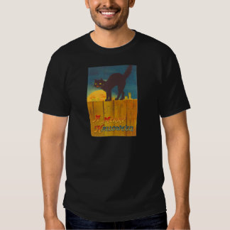 Black Cat On Fence Man In The Moon T Shirt
