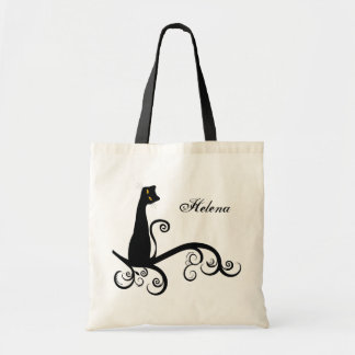Black Cat On Swirly Branch Personalized Budget Tote Bag