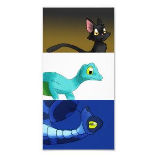Black Cat/Winged Gecko/Blue Snake Set Photo Art