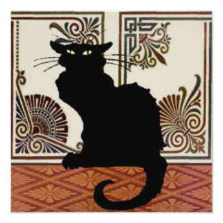 Black Cat With Art Screen 13 Cm X 13 Cm Square Invitation Card