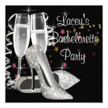 Black Champagne High Heels Bachelorette Party 13 Cm X 13 Cm Square Invitation Card