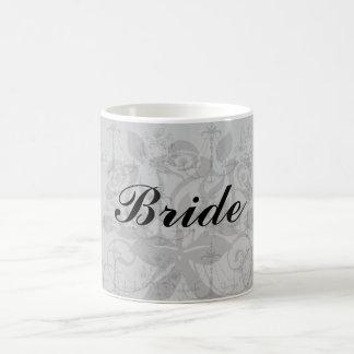 black chandelier damask pattern basic white mug