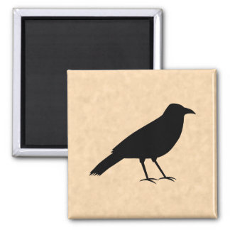 Black Crow Bird on a Parchment Pattern. Square Magnet