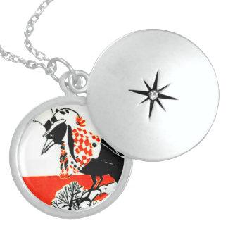 black crow, checkered jacket, hat and flower round locket necklace