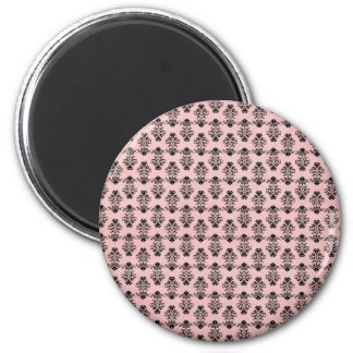 Black Damask on Faded Pink Background 6 Cm Round Magnet