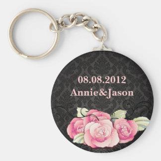 black damask pink roses vintage wedding basic round button key ring