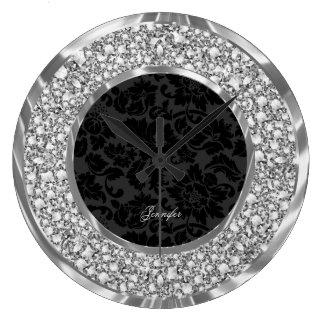 Black Damasks Sparkling Faux Diamonds Glitter Wallclocks