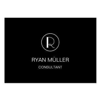 Black Elegant Professional Plain and Monogram Pack Of Chubby Business Cards
