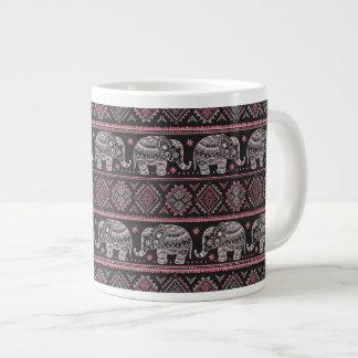 Black Ethnic Elephant Pattern Jumbo Mug