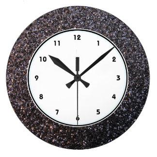 Black faux glitter graphic clock