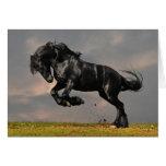 Black Friesian Horse Running Free Greeting Card
