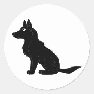 Black German Shepherd Round Sticker