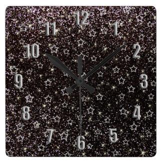 Black glitter stars wallclocks