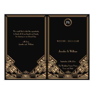 Black Gold Art Deco Gatsby Style Wedding Program 21.5 Cm X 28 Cm Flyer