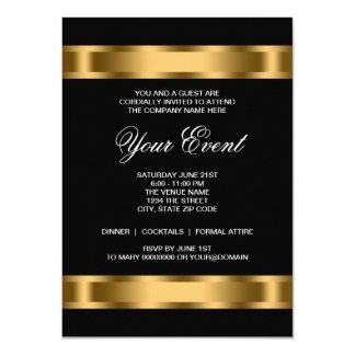 Black Gold Black Tie Corporate Party 11 Cm X 16 Cm Invitation Card