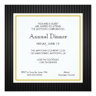 Black & Gold Business Professional Dinner 13 Cm X 13 Cm Square Invitation Card