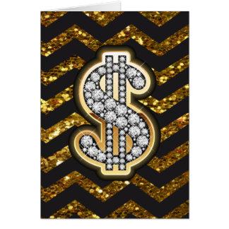 Black & Gold Chevron Diamond & Gold Dollar Sign Greeting Card