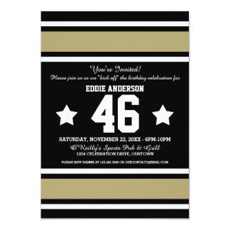 Black|Gold Football Jersey Stripes 13 Cm X 18 Cm Invitation Card