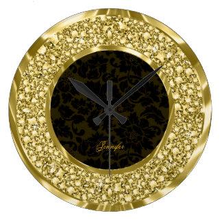 Black & Golden Sparkling Diamonds Glitter-Monogram Wall Clocks