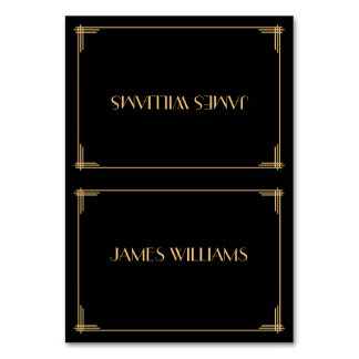 Black Great Gatsby Art Deco Place Setting Cards Table Card