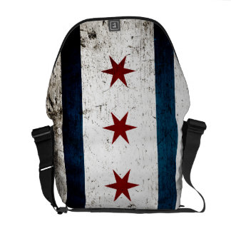 Black Grunge Chicago Flag Courier Bags
