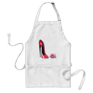 Black heel red stiletto shoe and rose standard apron