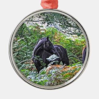 Black New Forest Pony & Forest U.K. Silver-Colored Round Decoration