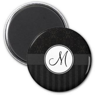 Black on Black Damask and Stripes with Monogram 6 Cm Round Magnet