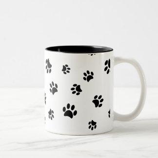 Black Paw Prints Pattern Two-Tone Mug
