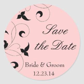 Black & Pink Dainty Vine Save the Date Stickers