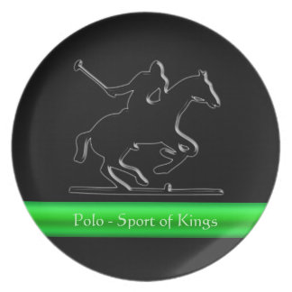 Black Polo Pony and Rider, green chrome-look strip Party Plates