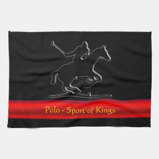 Black Polo Pony and Rider, red chrome-look stripe Towel