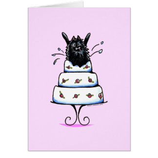 Black Pomeranian Cake Trick Greeting Card