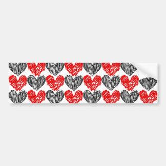Black & Red Scribble Hearts Bumper Sticker