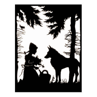 Black Silhouette Red Riding Hood Wolf Woods Postcard