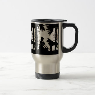 Black Silhouette Red Riding Hood Wolf Woods Stainless Steel Travel Mug