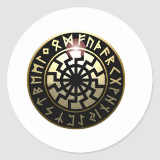 Black Sun wheel Round Sticker