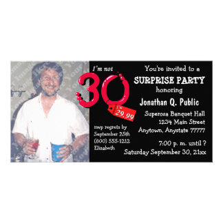 Black Surprise 30th Birthday Party Photo Invite Custom Photo Card