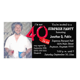 Black Surprise 40th Birthday Party Photo Invite Personalised Photo Card