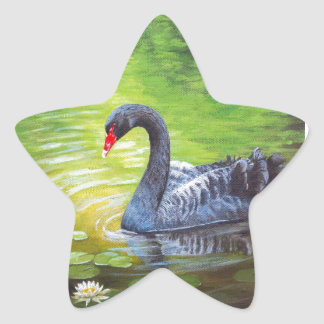 Black Swan Original Painting! Artist Elena Esina Star Sticker